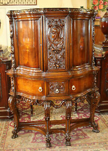 Best Carved Walnut Inlaid Satinwood China Liquor Cabinet Bar Restored C1920 Mint