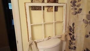 Antique Wood Window Sash Pane 6 Pane 28x24 Towel Rack Bathroom Decor Rustic