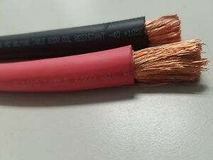 1 0 Awg Welding Cable Wire Copper Battery Solar Red 20 Feet Black 5 Feet