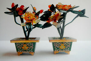 Jade And Precious Stone Flower Trees Vintage Chinese Flower Trees In Cloisonn