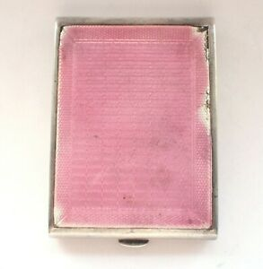 Antique 925 Silver Cigarette Case Box Pink Guilloche Enamel Card Case Vintage