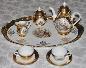 Vintage Hk Bavaria Germany Handarbeit 22 Karat Gold Tea Coffee Set