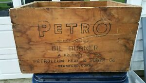 Vintage Petro Oil Burner Wooden Shipping Crate Antique Box Oil Lamp Parts