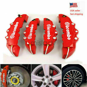 4pcs 3d Style Car Universal Disc Brake Caliper Covers Front Rear Kits Red New