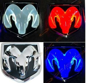 Chrome 09 18 Led Dodge Ram 1500 2500 3500 Tailgate Rams Head Badge Emblem Mopar
