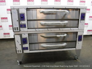 Bakers Pride Y602 Gas Double Deck Pizza Oven With Stone Legs