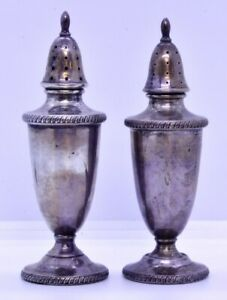 Vintage Sterling Silver Non Weighted Edwardian Style Pair Salt Pepper Shakers