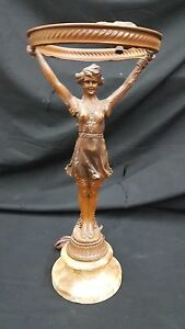 Art Deco Bronze With Marble Base Lady Table Lamp
