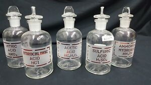 Ammonium Hydroxide Sulfuric Acetic Nitric Hydrochloric Acid Bottles Set Of 5