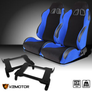 05 14 Ford Mustang Gt V6 Gt500 Blue Cloth Pvc Leather Racing Seats brackets Pair