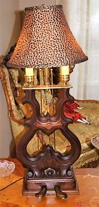 Antique Musical Piano Wood Wooden Desk Shade Adjustable Table Lamp Fixture