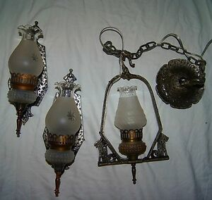 Set 2 Vtg Deco Slip Shade Cast Iron Sconces Chandelier Light Fixture 1930