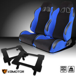 79 98 Ford Mustang Jdm Blue Cloth Pvc Leather Racing Seats mounti