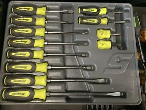 New Snap On Yellow Sgdx120bhv 12 Piece Soft Grip Combination Screwdriver Set