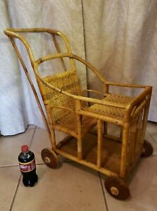 Rare Antique Vintage Bamboo Baby Doll Buggy Stroller Wicker Pram Pushcart