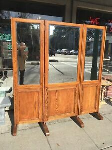 Large Oak Tri Fold Dressing Mirror Screen Arts Crafts Style