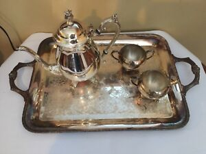 Beautiful Rogers Silver Plated Tea Service Set Large Tray Teapot Sugar