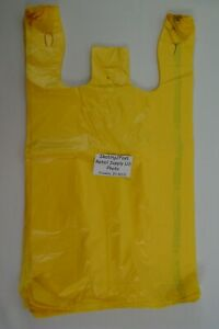 1000 Qty Yellow Grocery Plastic T shirt Bags W Handles Supermarket Retail