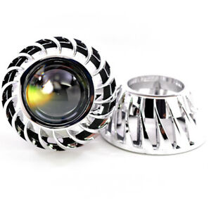 2x Mini Turbine Size Shrouds Universal For Hid Xenon Led Projector Bezels Chrome