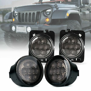 Xprite Led Turn Signal Fender Side Light Smoke Lens For 07 18 Jeep Wrangler