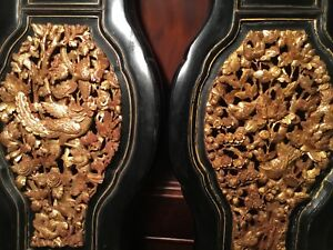 2 Antique Chinese Gilt Wood Carved Panels Flowers Phoenix Bird Wooden Carving 4
