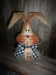 Primitive 9x6in Spring Blue Bunny Head Stuffed Fabric Country Old Rusty Doll