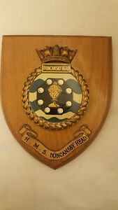 Vintage Hms Duncansby Head Royal Navy Ship Plaque Wall Shield Hand Painted