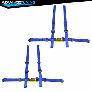 Pair Of 4 Point Racing Seat Belts Shoulder Strap Blue Universal Fit Harness