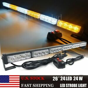 26 Inch Led Emergency Strobe Light Bar Warning Traffic Advisor Flash Amber White