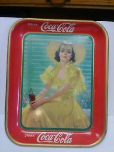 Vintage 1938 Coca Cola Metal Serving Tray Girl in Yellow Hat & Yellow Dress