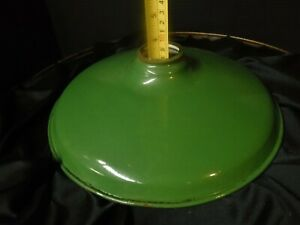 Vintage 11 5 Green Porcelain Shade Industrial Light Fixture Gas Station Barn