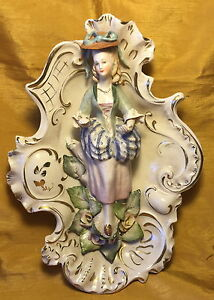 Vtg 12 Cordey Porcelain Pottery Figurine Wall Sconce Statue Woman W Bustle Hat