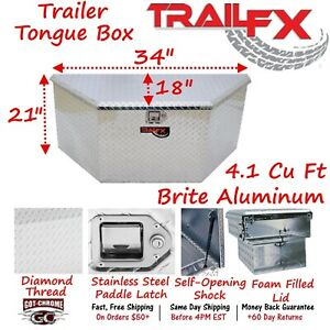 201341 Trailfx 34 X 18 X 21 Polished Aluminum Trailer Tongue Tool Box