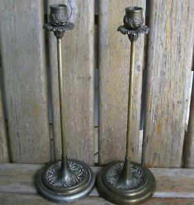 Two 14 Antique Art Nouveau Deco Metal Candle Holders Shabby Vintage French Chic
