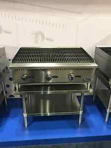 New 36 Lava Rock Char Broiler With Stainless Equipment Stand Package Deal Gas