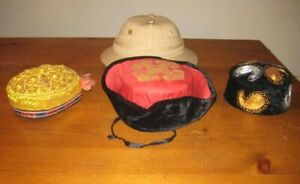 Collection Of 4 Antique Vintage Hats Chinese Asian And Pith Helmet