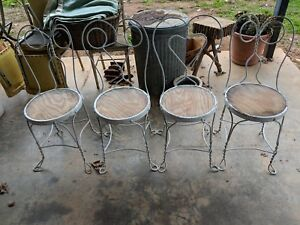 4 Vintage Ice Cream Parlor Chairs Twisted Heart Back