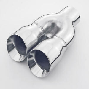 Single 3 Outlet Angle Cut Twin Round 2 5 Inlet Exhaust Tip Stainless Steel