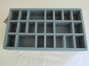 Antique Display Wall Box Old Blue Paint 21 Cubbies Different Sizes