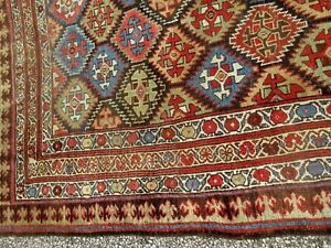 Large Antique Persian Tribal Oriental Estate Rug Circa 1900 Hand Woven All Wool