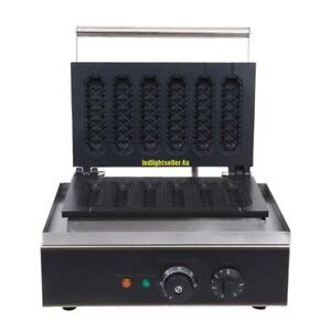 1550w Commercial Nonstick Electric French Hot Dog 6pcs Waffle Maker Iron Machine