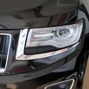 Chrome Front Light Head Lamp Eyelid Cover Trim For Jeep Grand Cherokee 2014 2018
