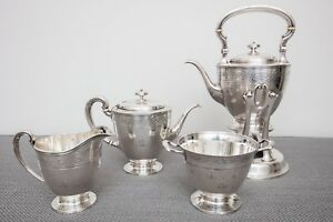 Tiffany Co Sterling Silver Tea Set Colonial Revival Water Kettle Antique 1907