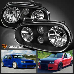 For 99 06 Vw Golf Gti Mk4 Black Headlights Pair W Built In Projector Fog Lamps
