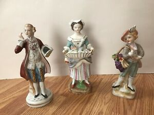Vintage 3 Porcelain Figurines Man And Woman 9 8 High
