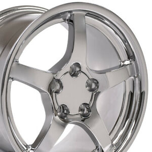 17x9 5 Wheels Fit Camaro Corvette C5 Deep Dish Chrome Rims W1x Set