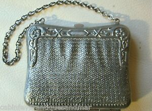 Antique Victorian Art Nouveau Silver T Metal Faux Mesh Motif Card Case Purse 2