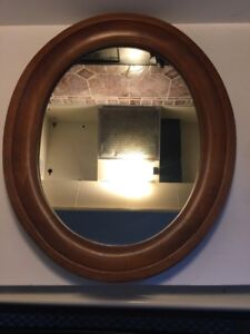 Old Vtg Tell City Chair Co Wood Framed Wall Mirror Oval Wall Hanging Decor