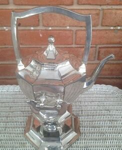 Silver Plate Tipping Tea Coffee Pot Server Warmer With Stand Burner 13 5 T
