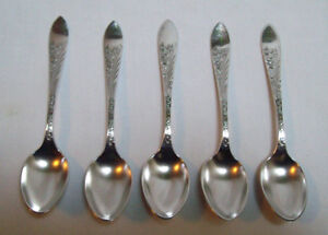 Reed Barton Silverplate 1889 Cashmere Pattern Set Of 5 Demitasse Spoons